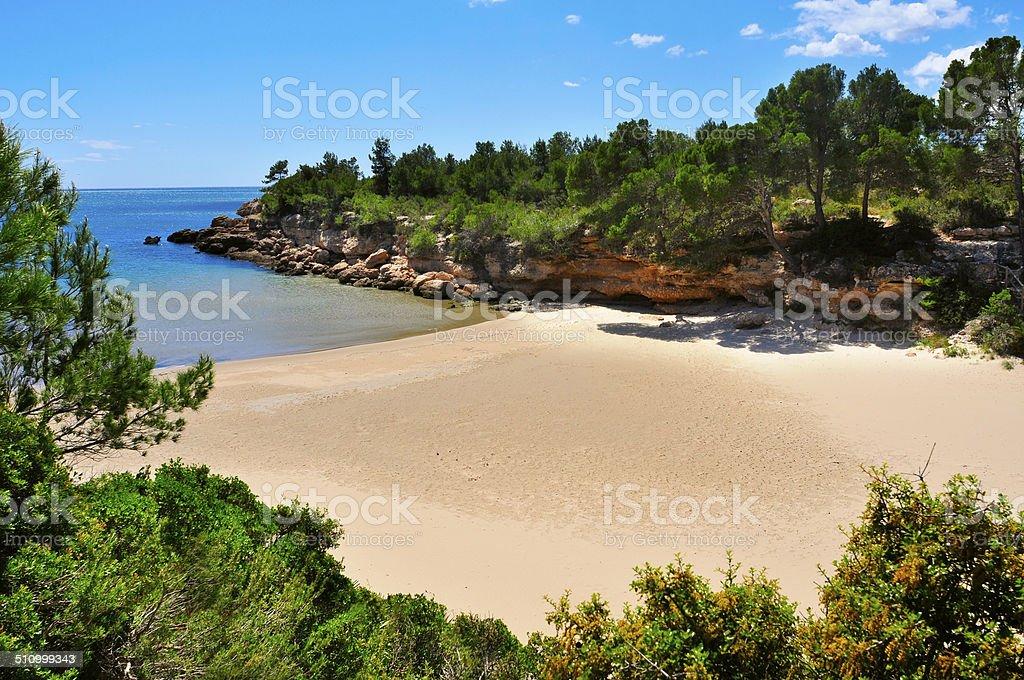 Cala Calafato beach in Ametlla de Mar, Spain stock photo