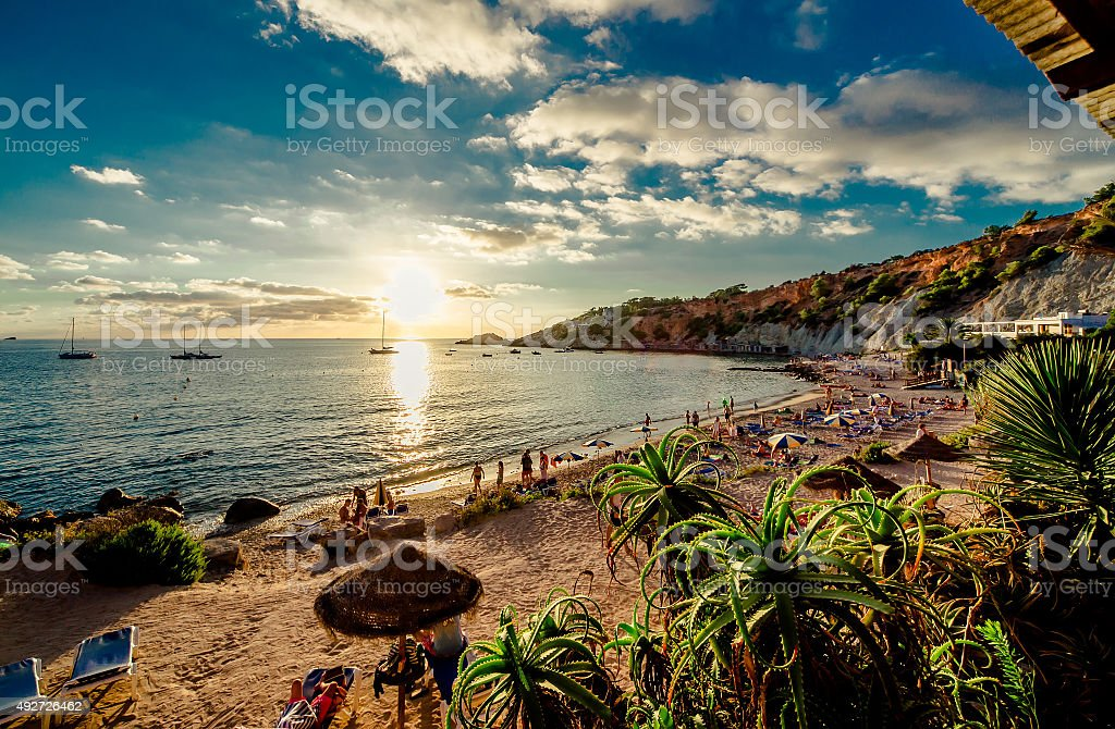 Cala d'Hort Beach at sunset stock photo