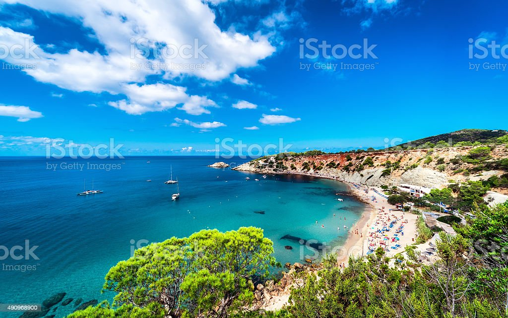 Cala d'Hort beach of Ibiza stock photo
