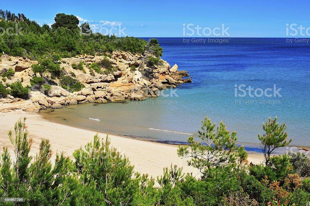 Cala Forn beach in Ametlla de Mar, Spain stock photo