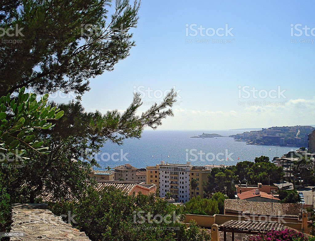 Cala Mayor panorama from the top point stock photo
