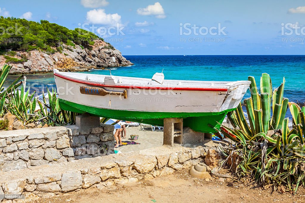 Cala Nova beach in Ibiza island in Balearic Mediterranean stock photo