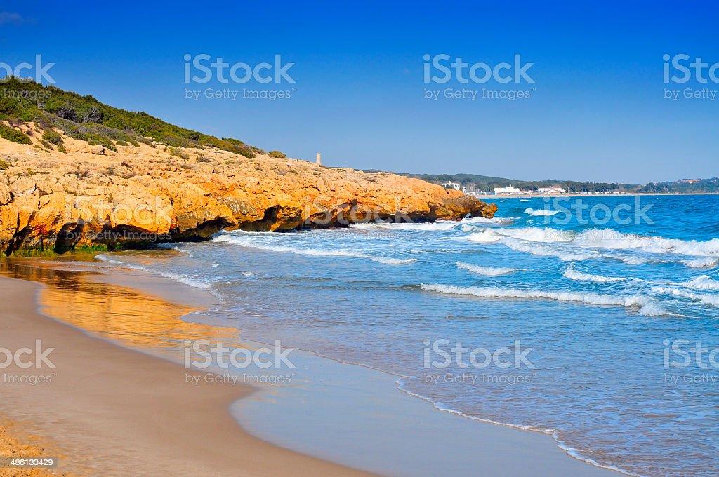 Cala Romana beach in Tarragona, Spain stock photo