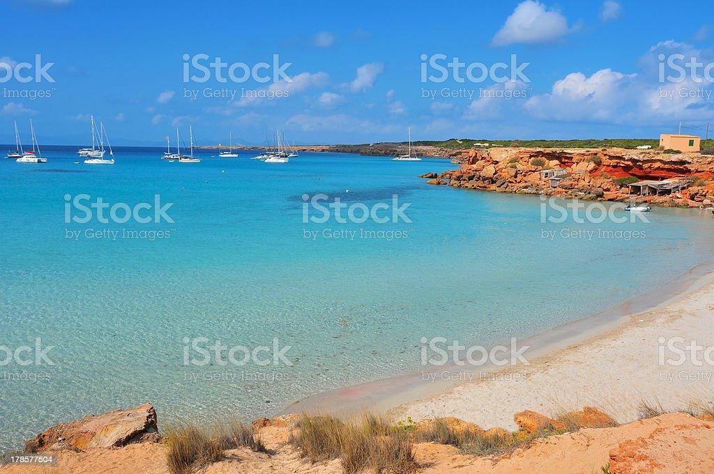 Cala Saona Beach in Formentera, Balearic Islands, Spain stock photo