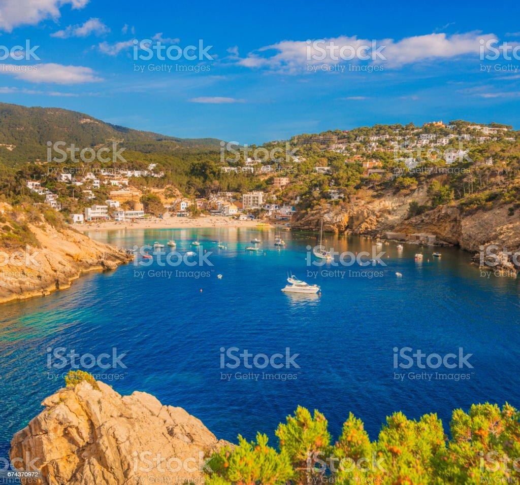 Cala Vadella on Ibiza stock photo