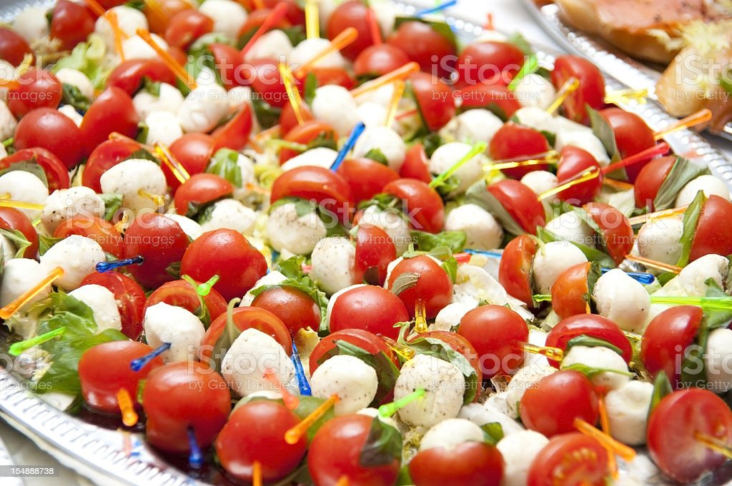 calabrese Tomate Mozzarella Spieße stock photo