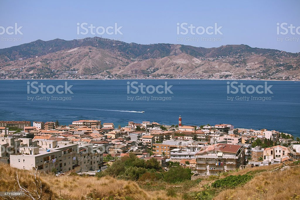 Calabrian view on Messina strait stock photo