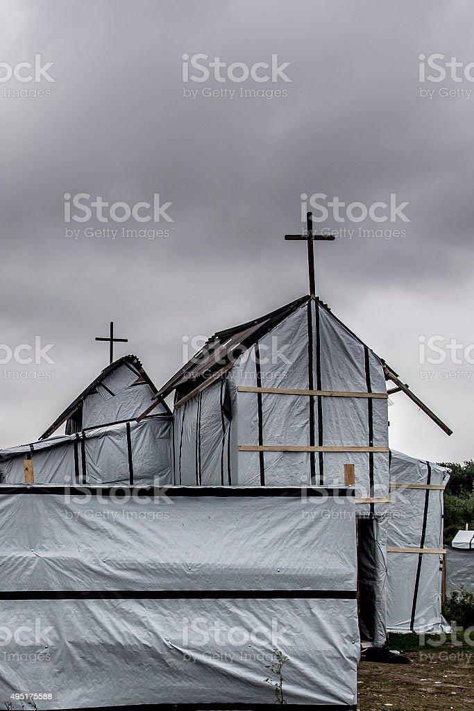 Calais Jungle Church stock photo