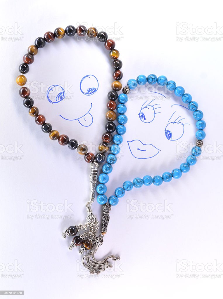 calaite and tiger eye rosary stock photo