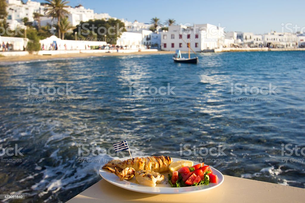 Calamari in Mykonos Town, Greece stock photo