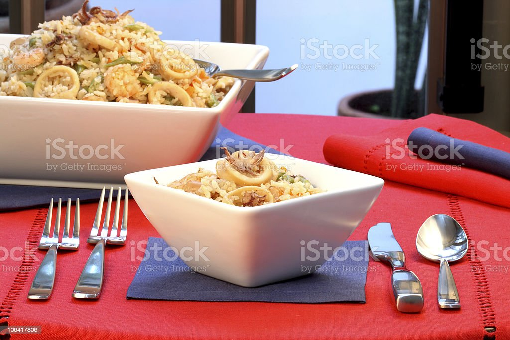 calamari rice stock photo