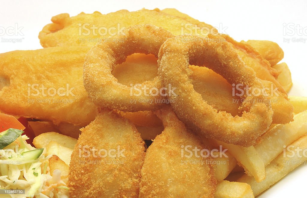 calamari rings with fried seafoods royalty-free stock photo