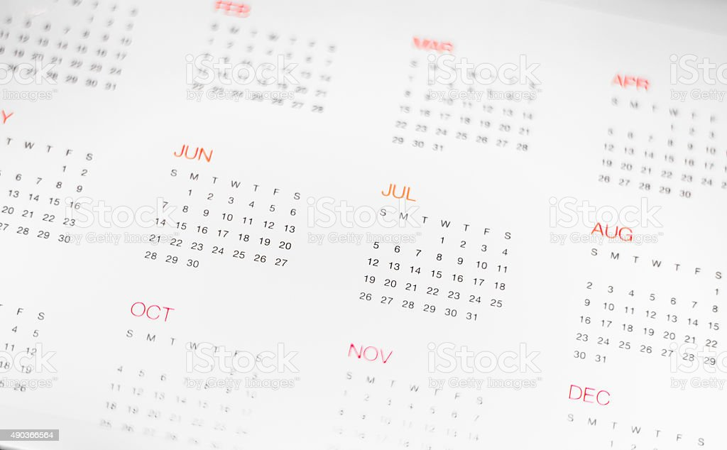 Calander with day & month stock photo