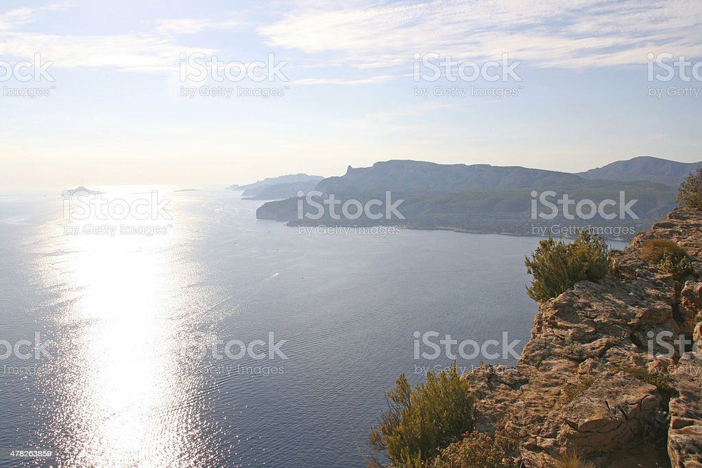 Calanques of Cassis in the french riviera at sunset, France. royalty-free stock photo