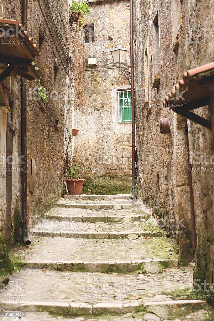 Calcata Alleway stock photo