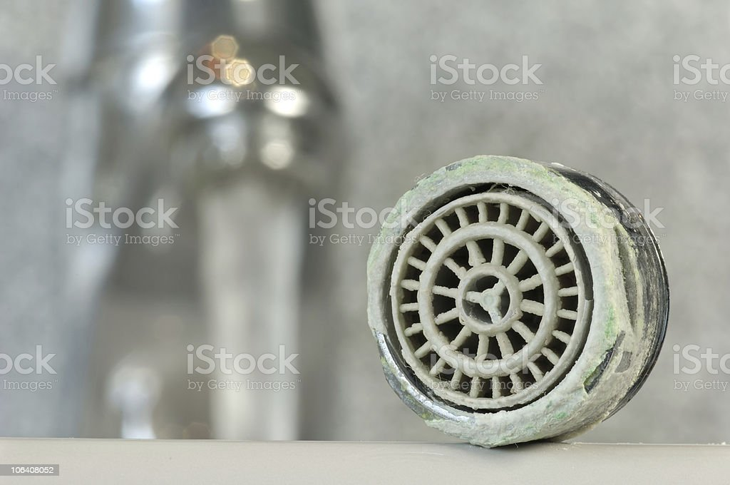 Calcified faucet stock photo