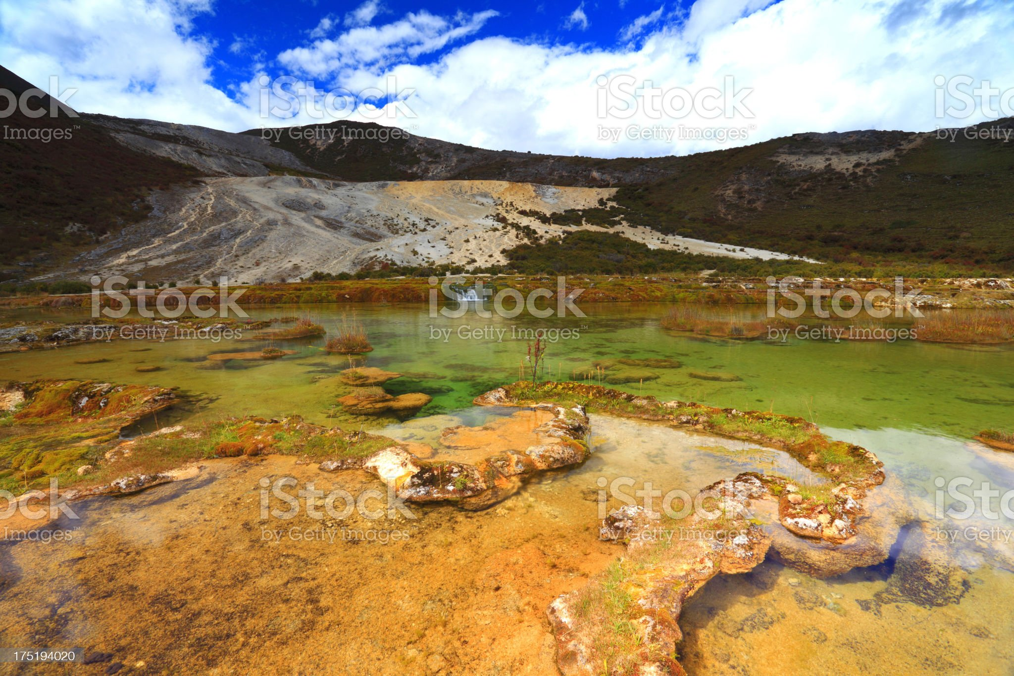 Calcified pond in Ganzi state,Sichuan province,China royalty-free stock photo