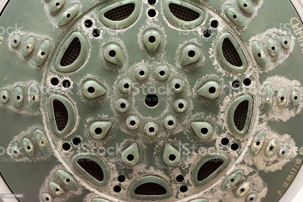 Calcified shower head stock photo
