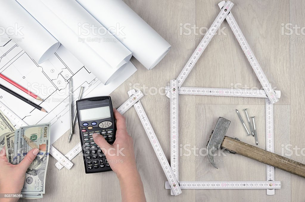 calculate the building costs stock photo