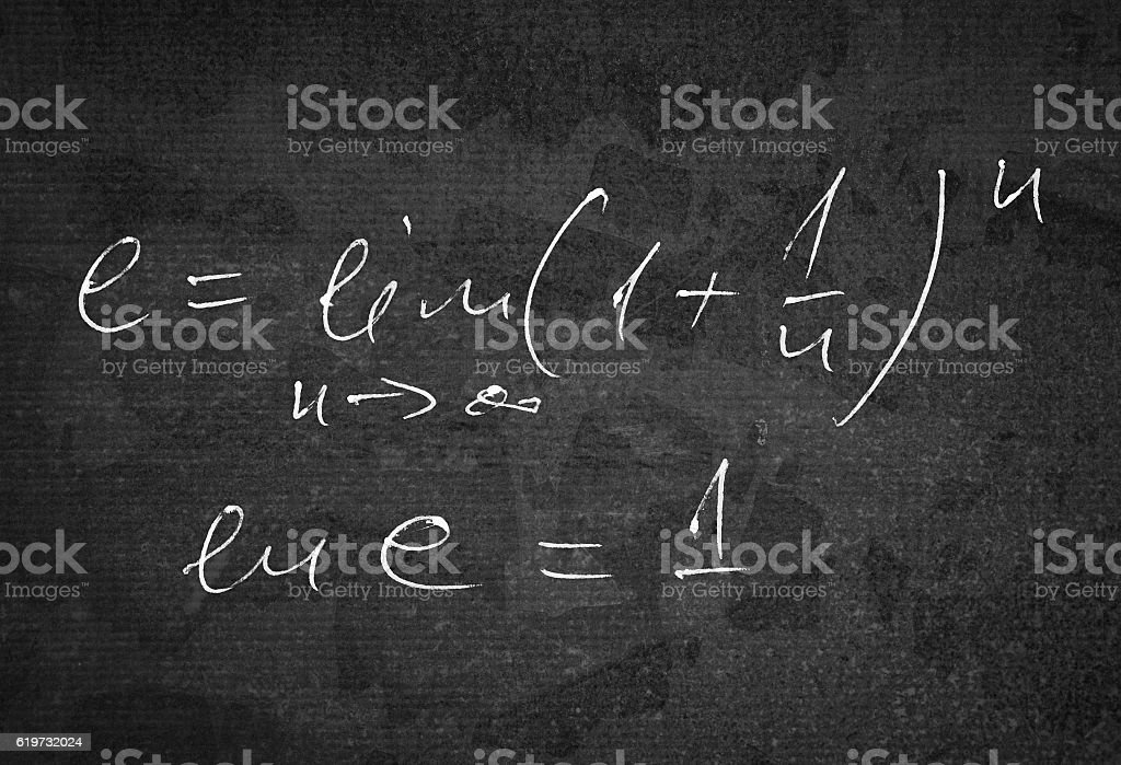 Calculating e number stock photo
