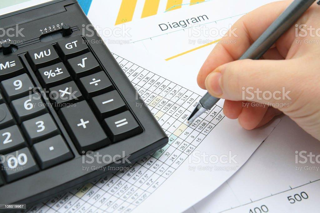 Calculating financial data royalty-free stock photo