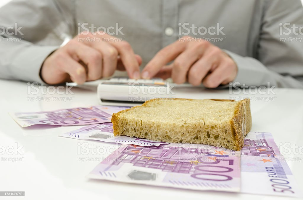 Calculating food expenses royalty-free stock photo