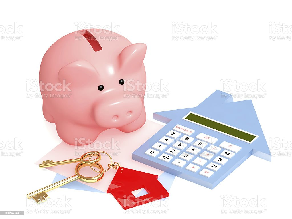 Calculating how to pay for a new house royalty-free stock photo