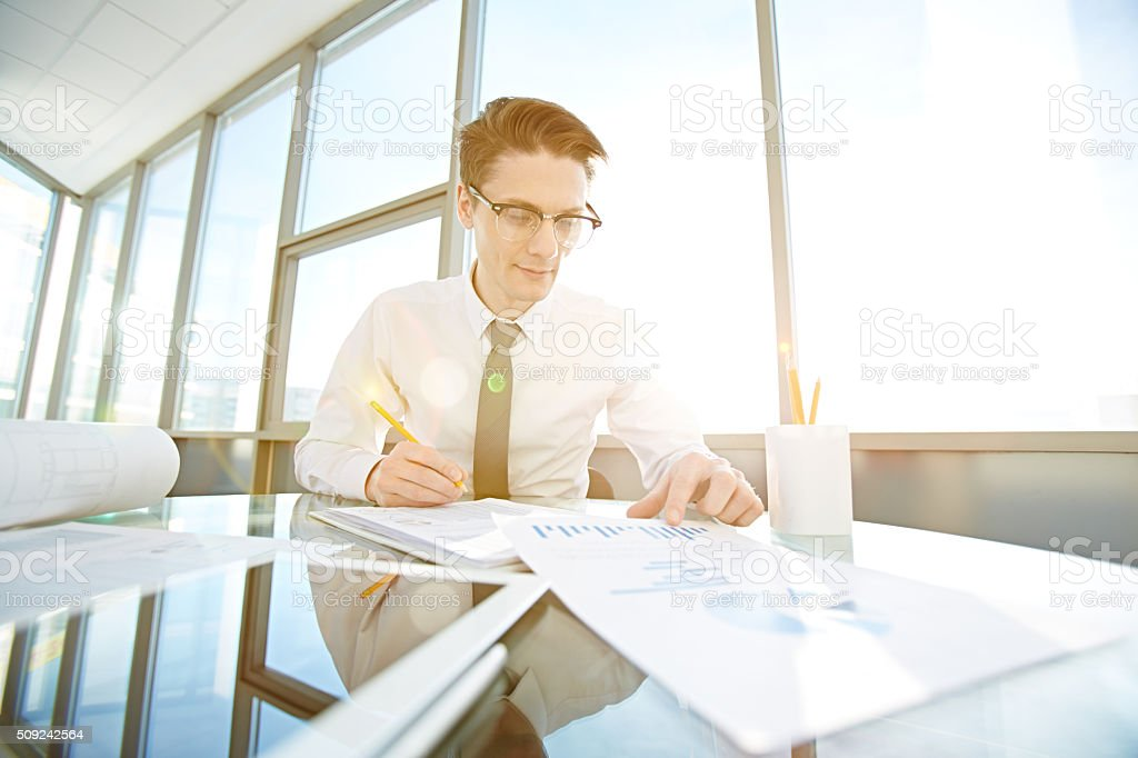 Calculating profit of company stock photo