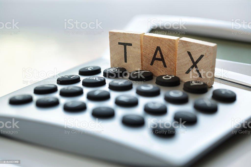 Calculating tax stock photo