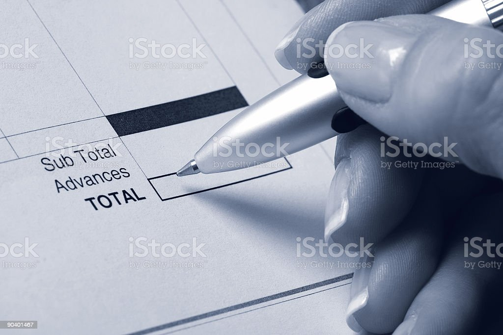 Calculating totals stock photo