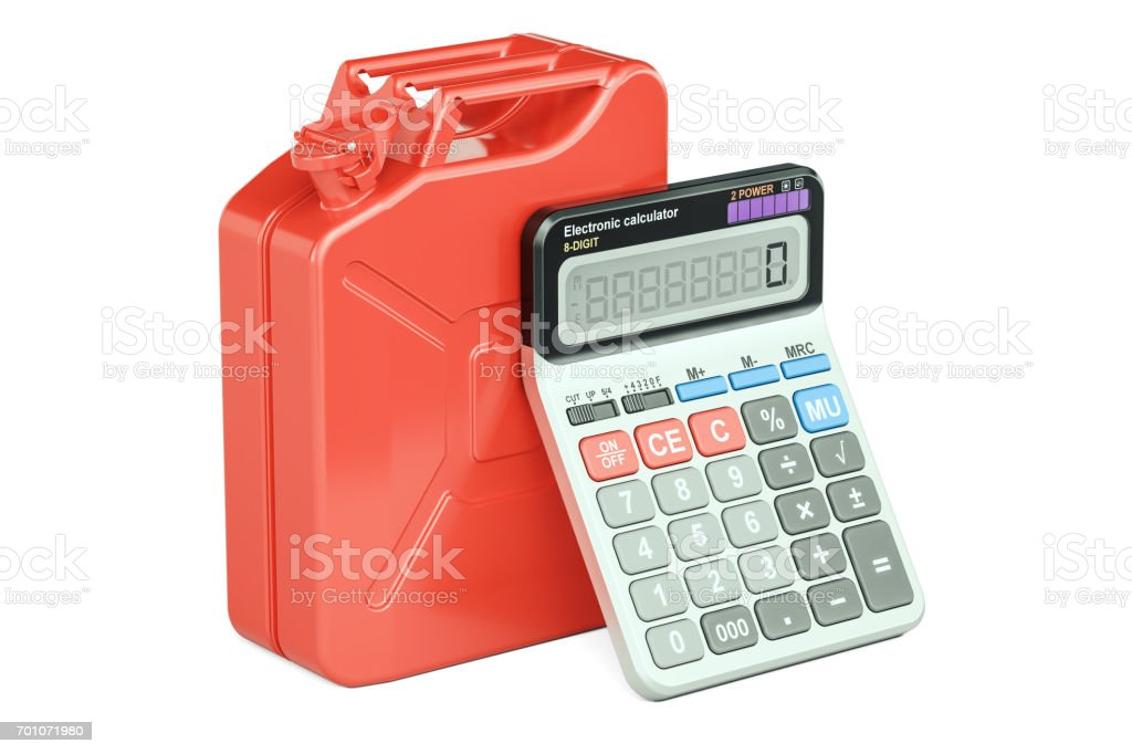 Calculation of cost fuel concept. Jerrycan with calculator, 3D rendering isolated on white background stock photo