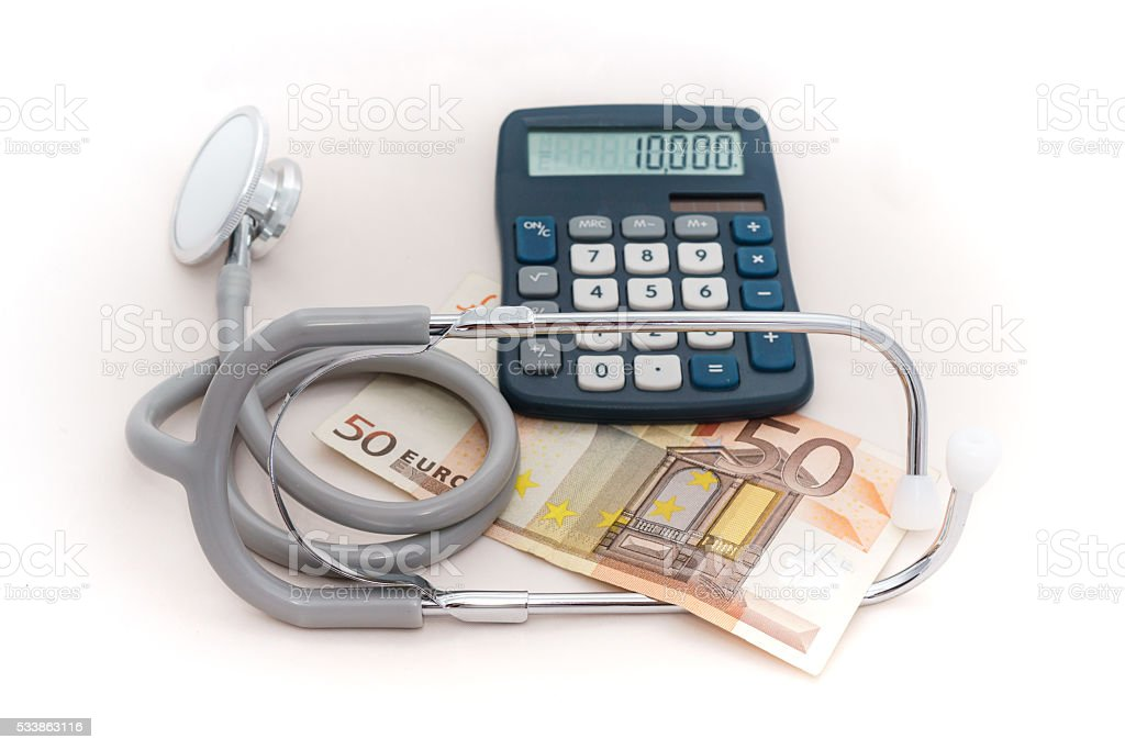 Calculation of medical expenses stock photo
