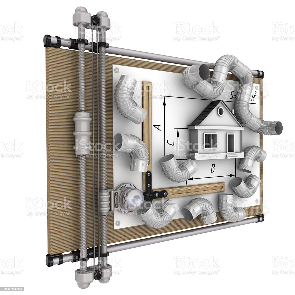 Calculation of ventilation of the house stock photo
