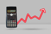 Calculator and arrow growth up, Financial planning concept.