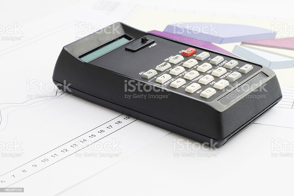 Calculator and charts royalty-free stock photo