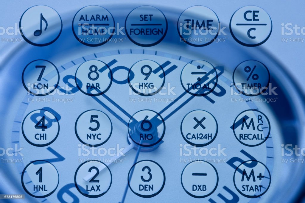 Calculator and clock synthesis stock photo