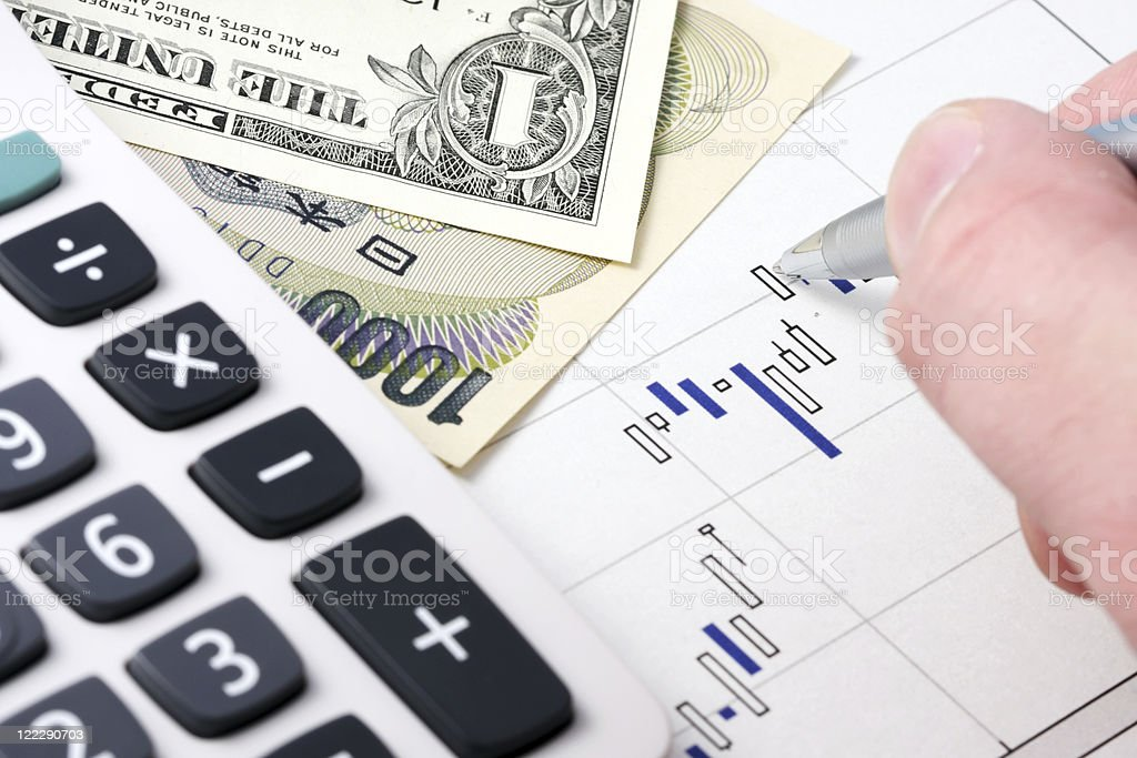 Calculator and currency on the chart. royalty-free stock photo