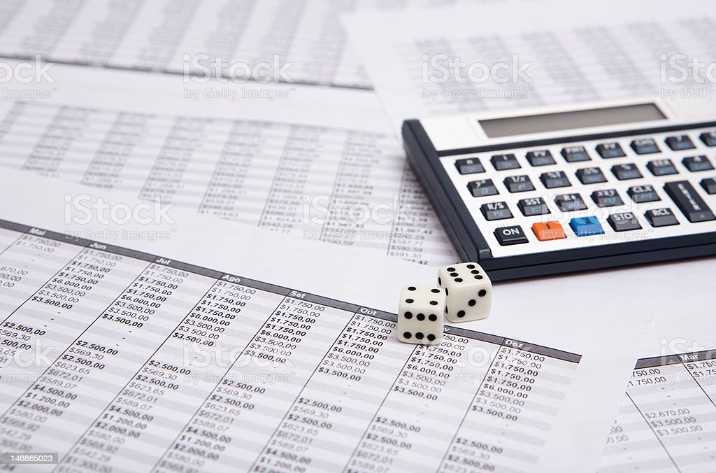 calculator and dice royalty-free stock photo