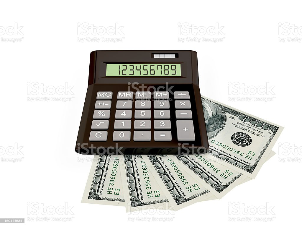 Calculator and dollars. royalty-free stock photo