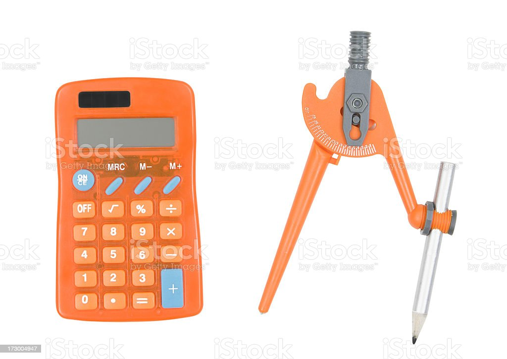 Calculator and Drawing Compass royalty-free stock photo