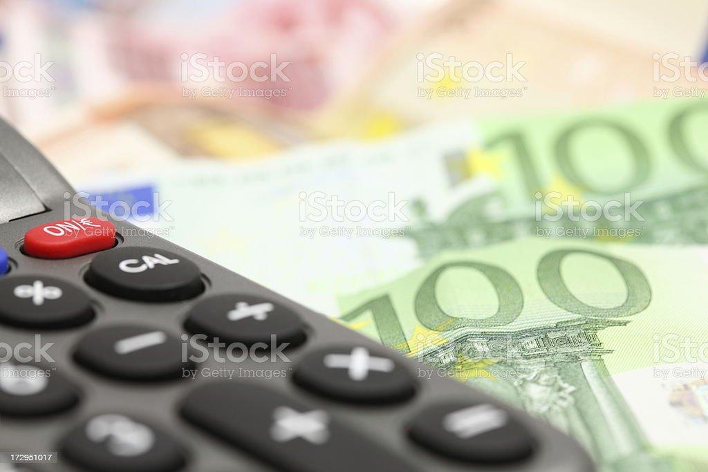 Calculator and Euro Bank Notes royalty-free stock photo