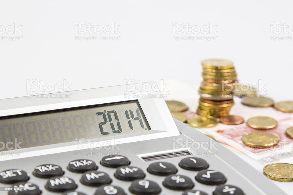 Calculator and European currency royalty-free stock photo