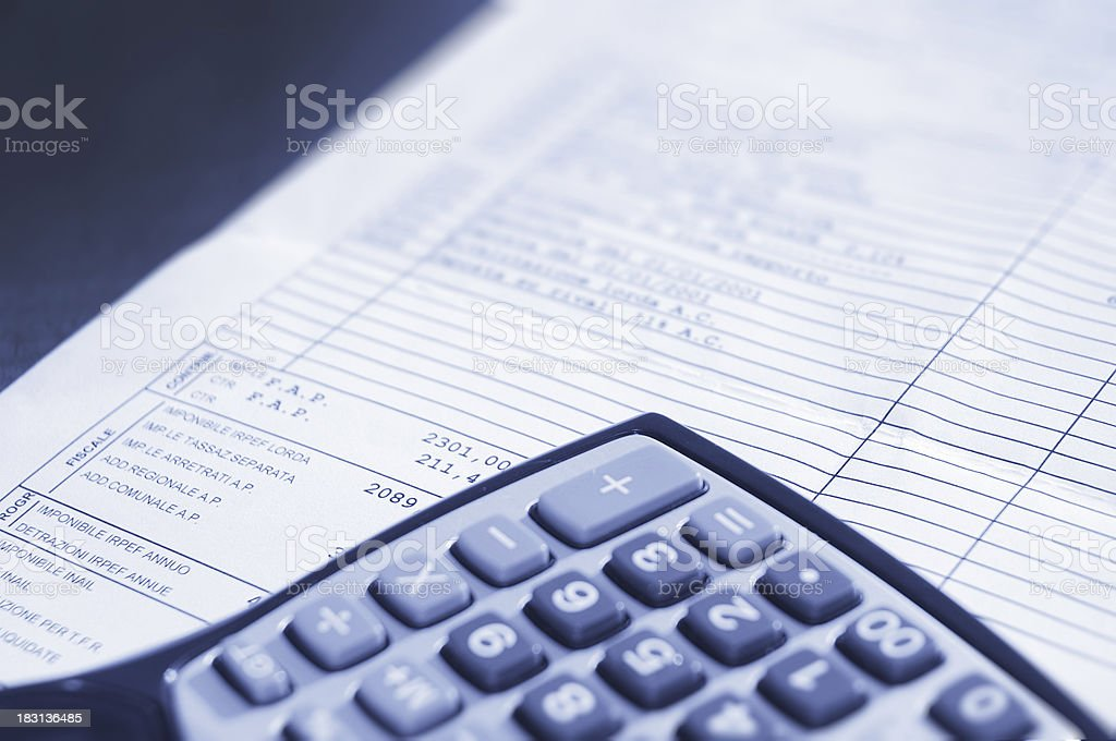 calculator and invoice royalty-free stock photo