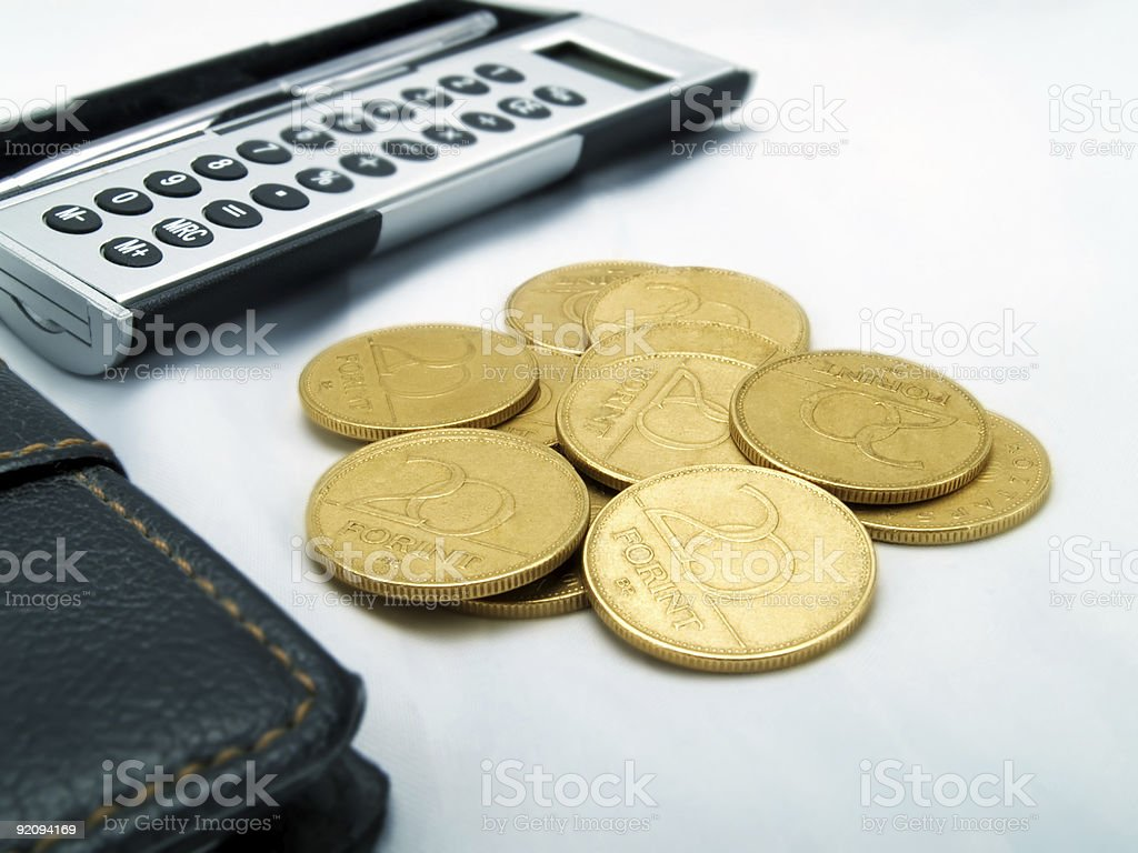Calculator and money royalty-free stock photo