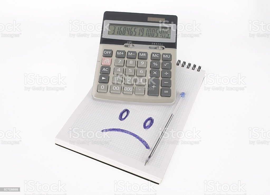 Calculator and notebook (clipping path) stock photo