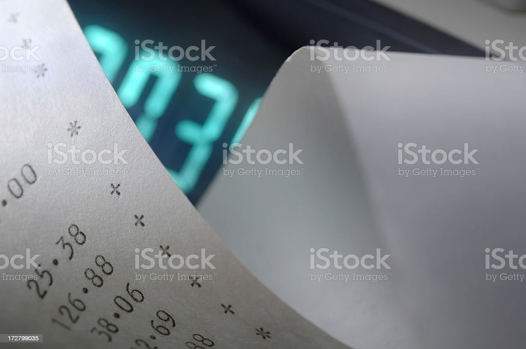 Calculator and Paper Tape royalty-free stock photo