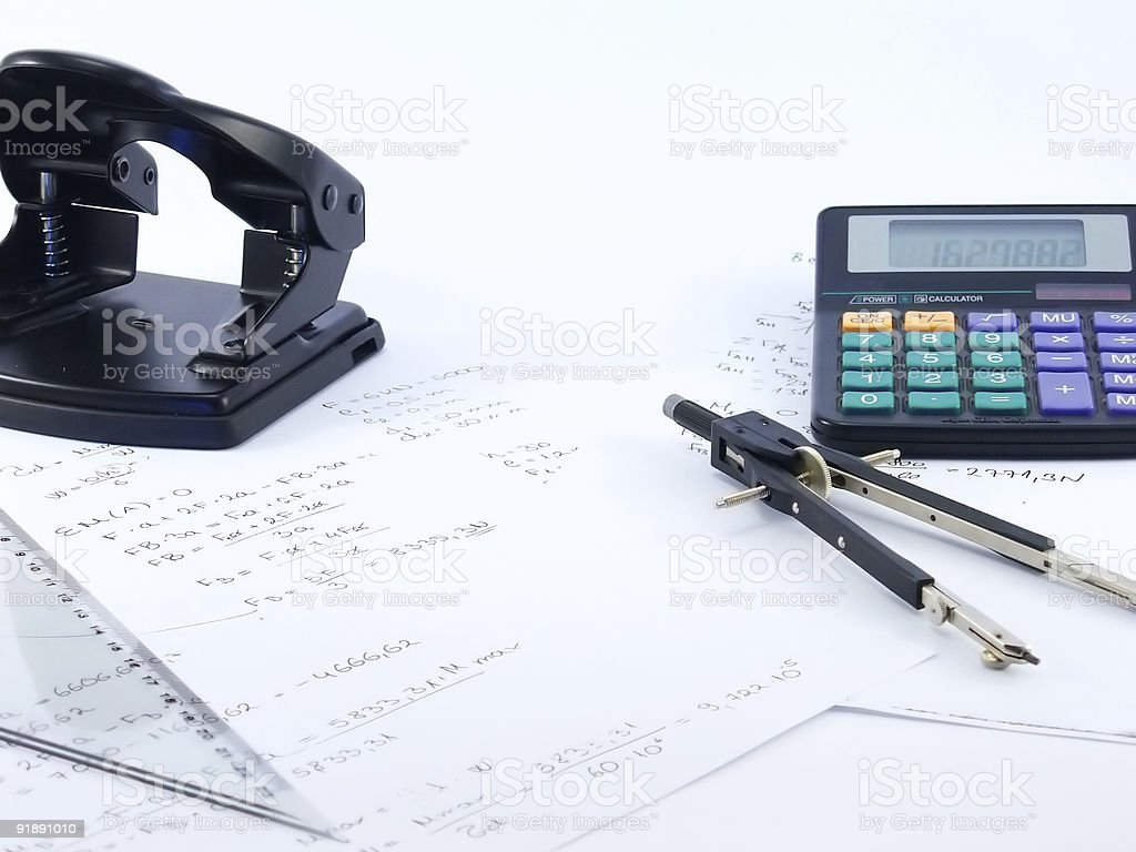 calculator and paper tools royalty-free stock photo