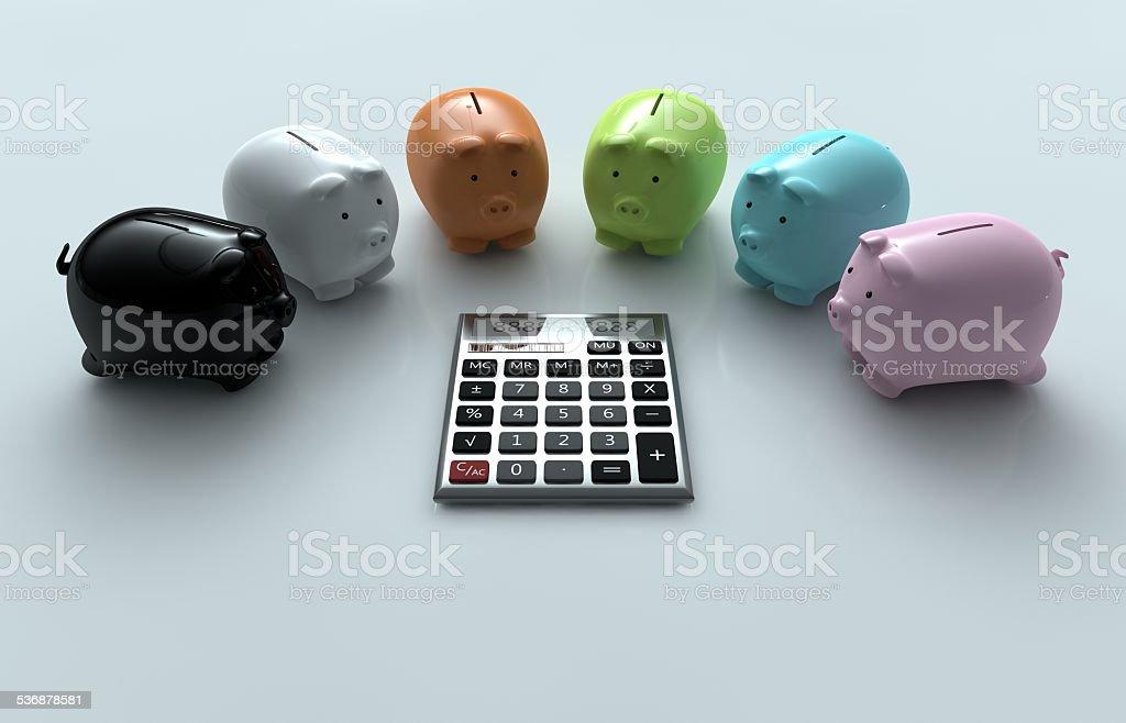 Calculator and Piggy Bank stock photo