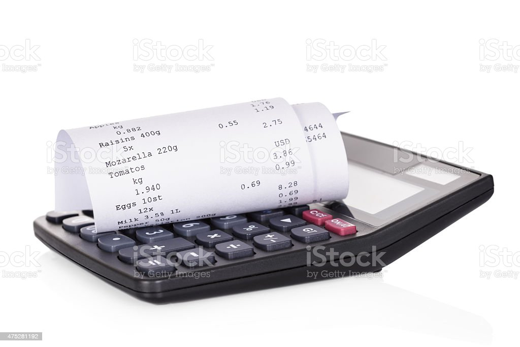 Calculator And Receipt stock photo