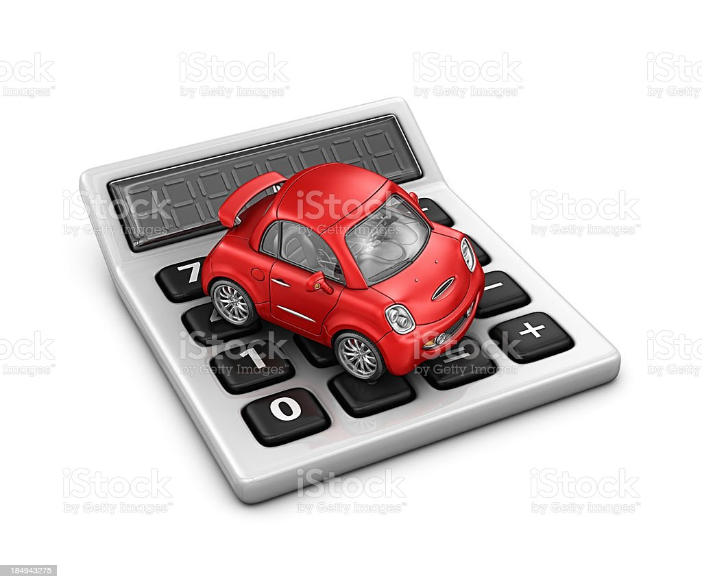 calculator and red car royalty-free stock photo